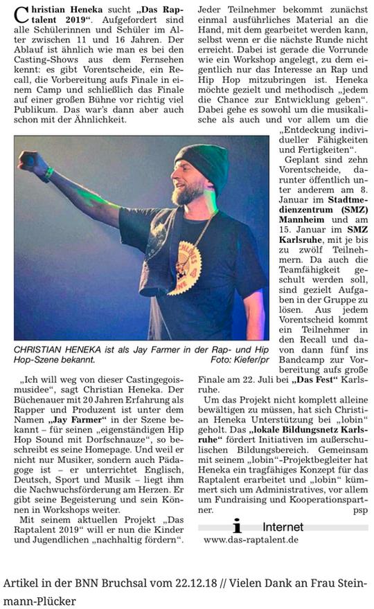 Artikel in der BNN Bruchsal vom 22.12.18 // Vielen Dank an Frau Steinmann-Plücker