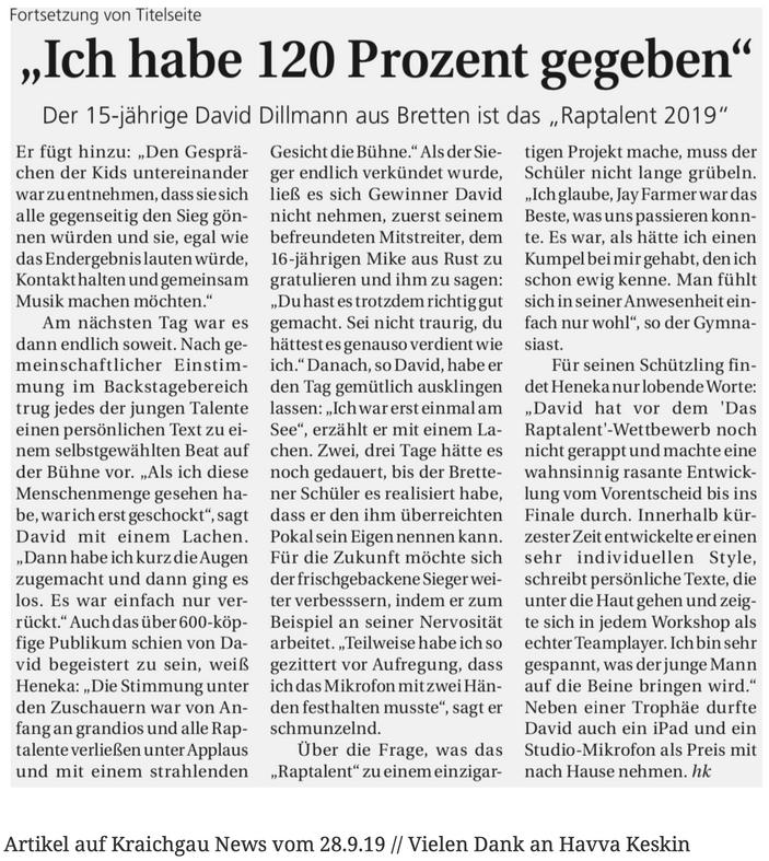 Artikel auf Kraichgau News vom 28.9.19 // Vielen Dank an Havva Keskin