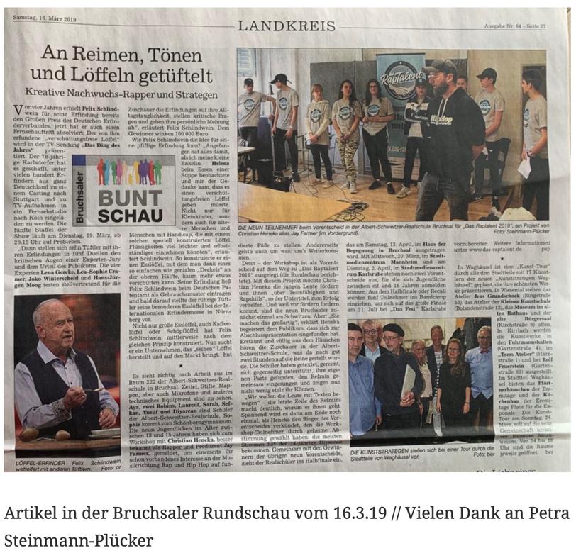 Artikel in der Bruchsaler Rundschau vom 16.3.19 // Vielen Dank an Petra Steinmann-Plücker