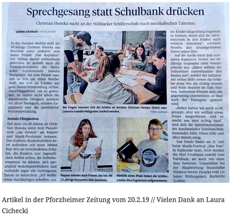 Artikel in der Pforzheimer Zeitung vom 20.2.19 // Vielen Dank an Laura Cichecki