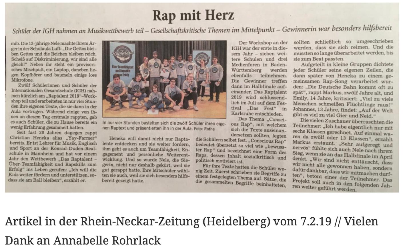Artikel in der Rhein-Neckar-Zeitung (Heidelberg) vom 7.2.19 // Vielen Dank an Annabelle Rohrlack