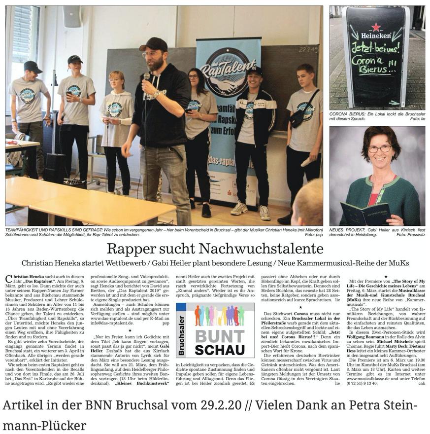 Artikel in der BNN Bruchsal vom 29.2.20 // Vielen Dank an Petra Steinmann-Plücker