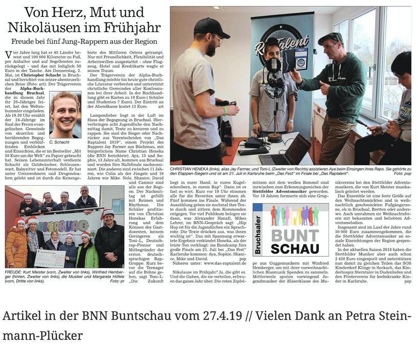 Artikel in der BNN Buntschau vom 27.4.19 // Vielen Dank an Petra Steinmann-Plücker