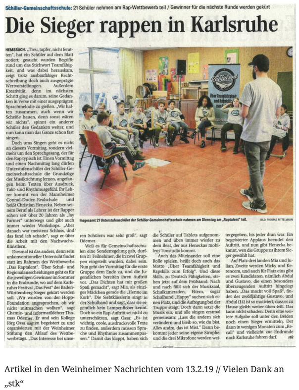"""Artikel in den Weinheimer Nachrichten vom 13.2.19 // Vielen Dank an """"stk"""""""