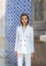 Leticia Morais summer suit white blazer white slim pants