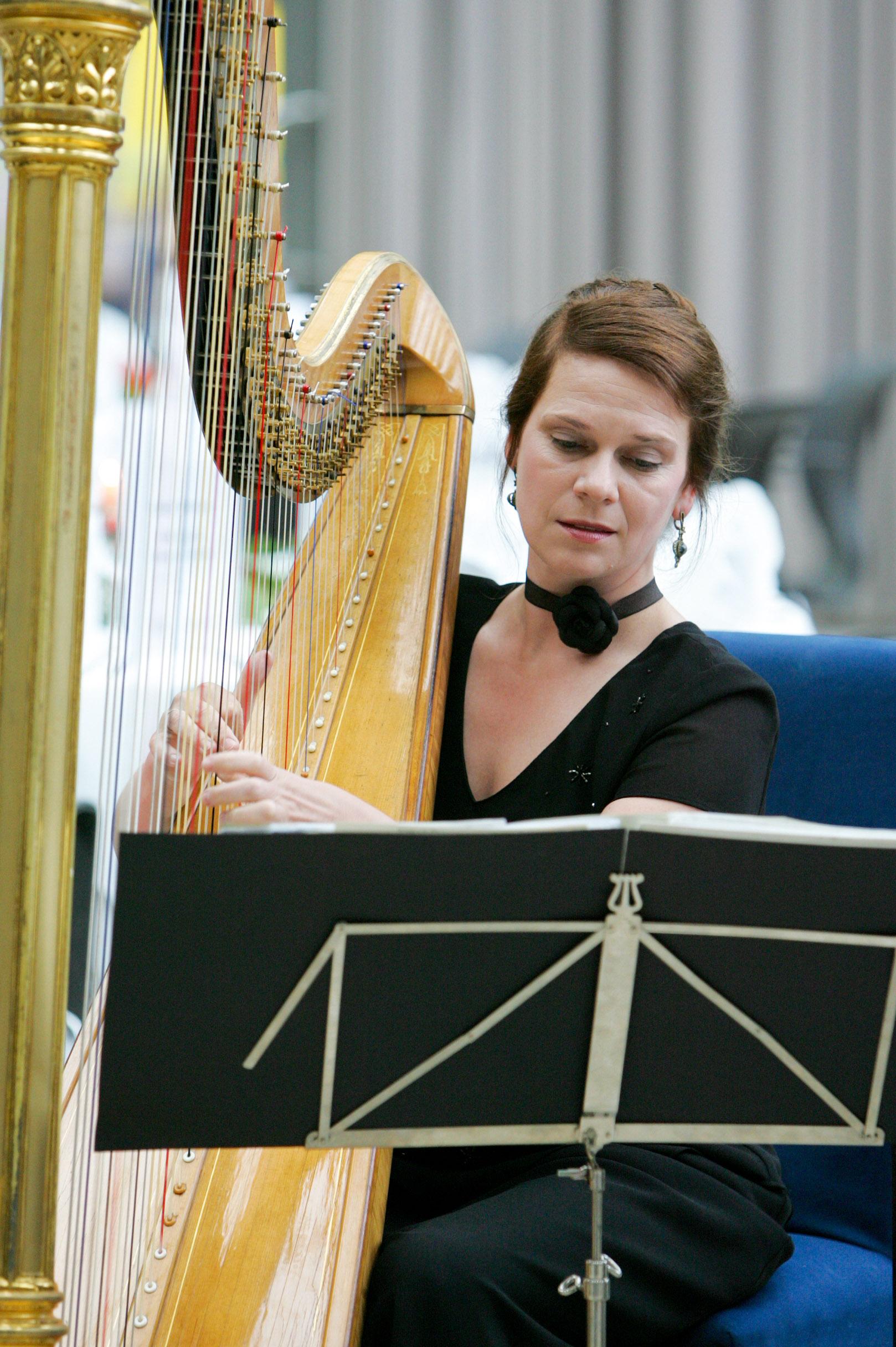Harfenistin Harfespielen lernen