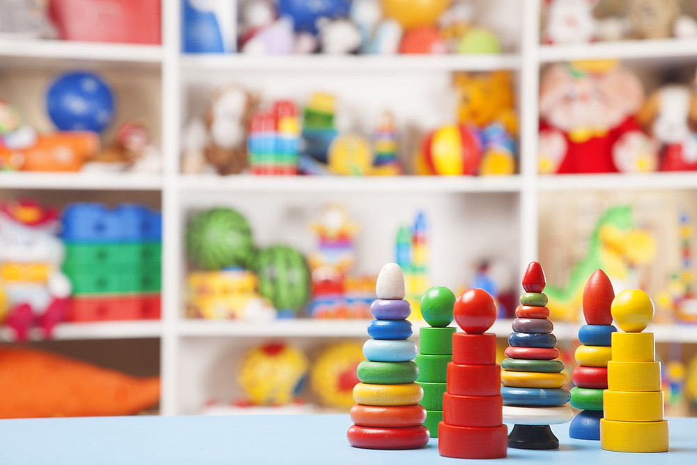 Room filled with children's toys to use in play therapy to address mental health issues
