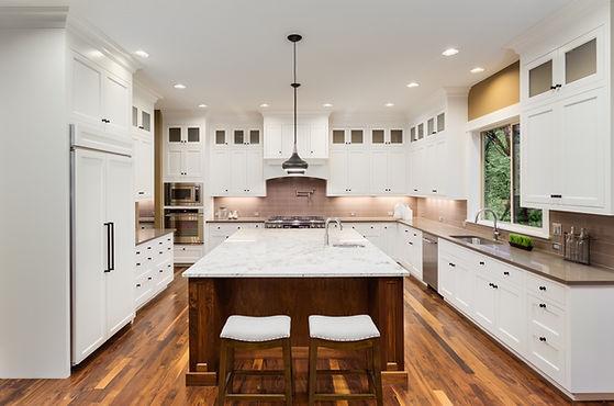 Large Kitchen Interior with Island, Sink