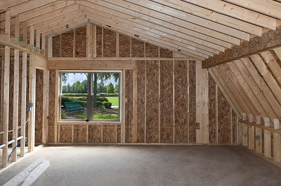 Room addition construction with pitched