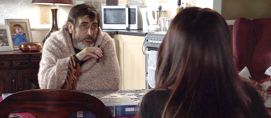 Simon escapes the hideout in Corrie to visit Peter in hospital