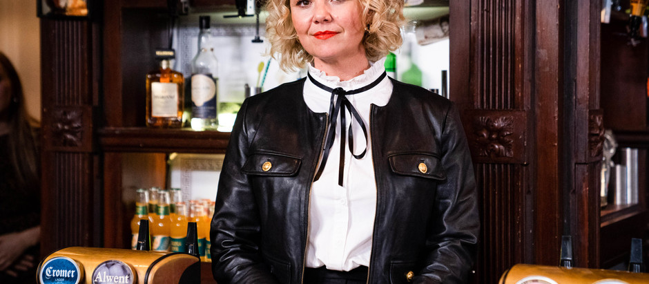 Janine finds herself back behind the bar in EastEnders