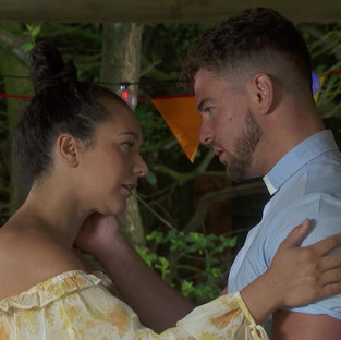 Cleo and Joel share a kiss in Hollyoaks