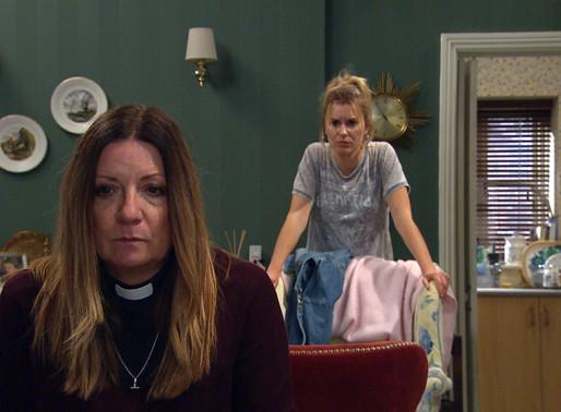 Harriet quits her job as vicar in Emmerdale
