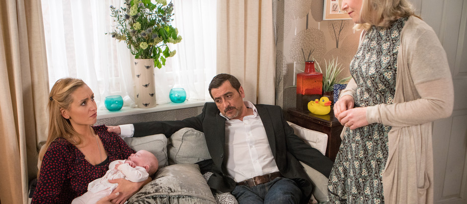 CORRIE SPOILERS Eva is shocked when a social worker arrives at the pub