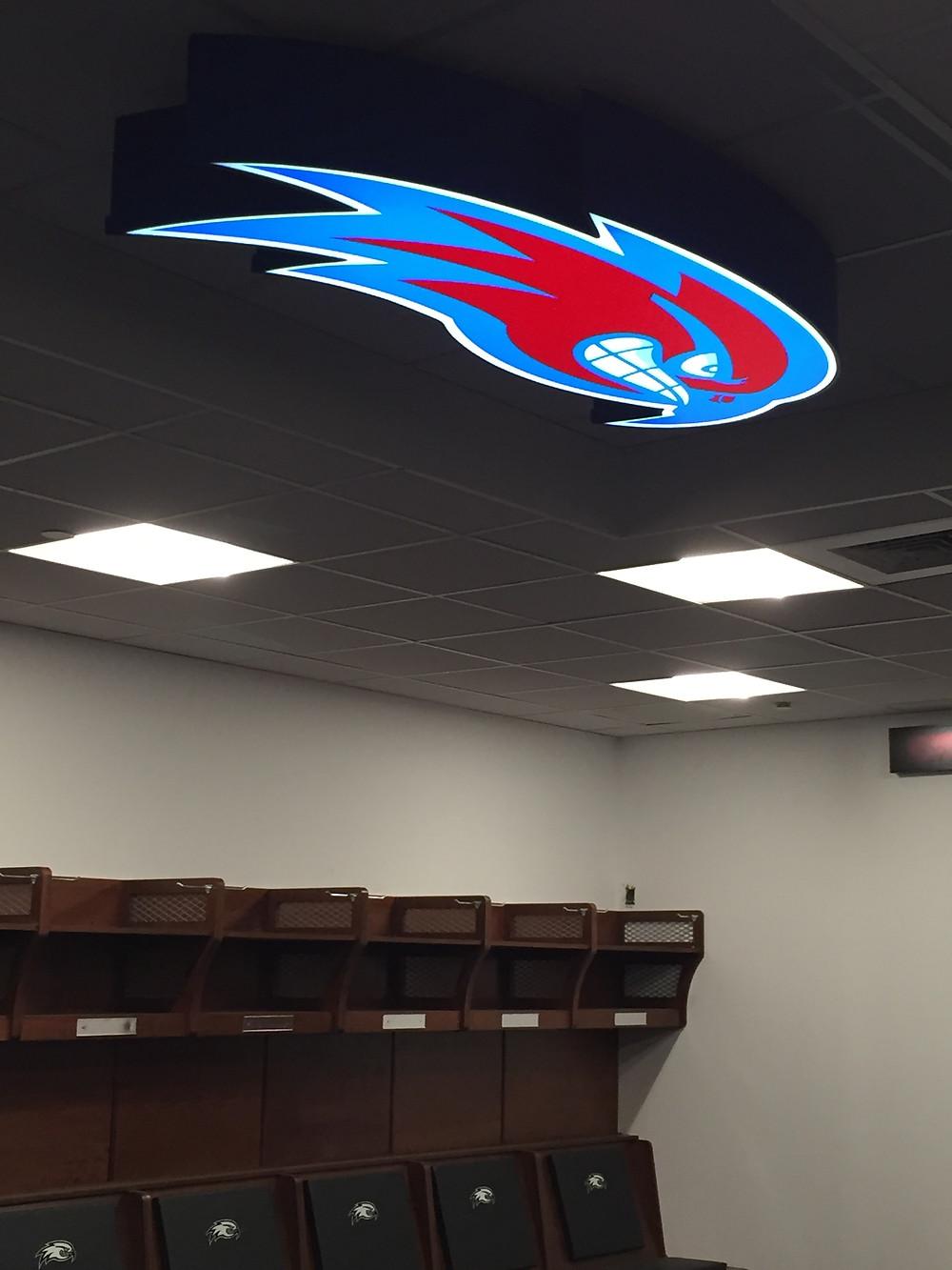 UMass Riverhawks illuminated locker room sign