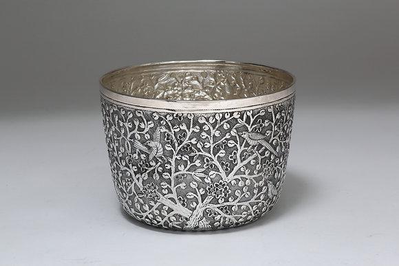 Silver Bowl - Birds & Blossoms