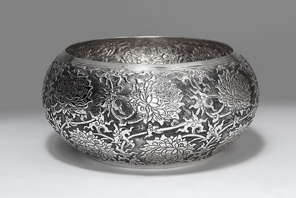 Silver Bowl - Lotus Flowers