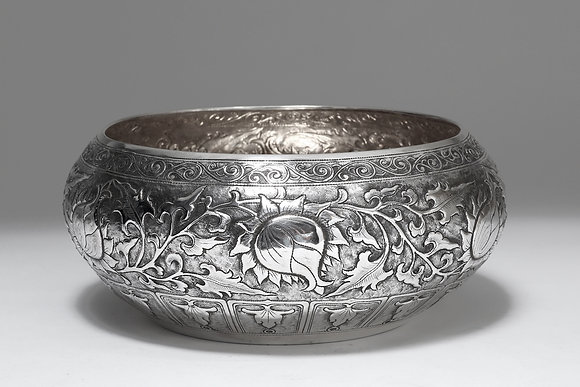 Silver Bowl - Lotus Buds