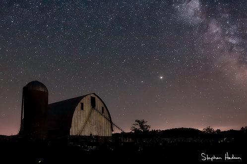 fireflies, barn and the milky way