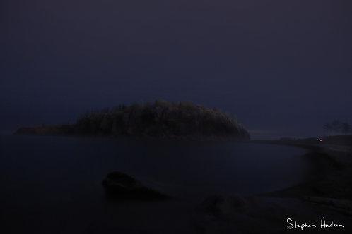 foggy night at black beach