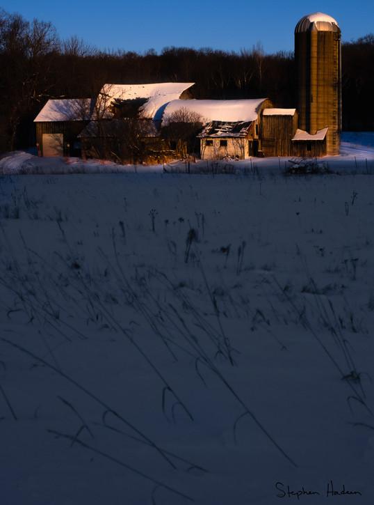 farm winter sunrise