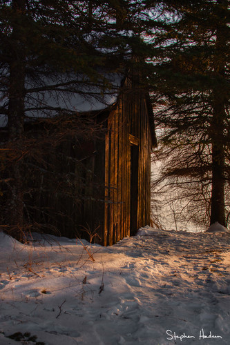 fishing shack winter sunset