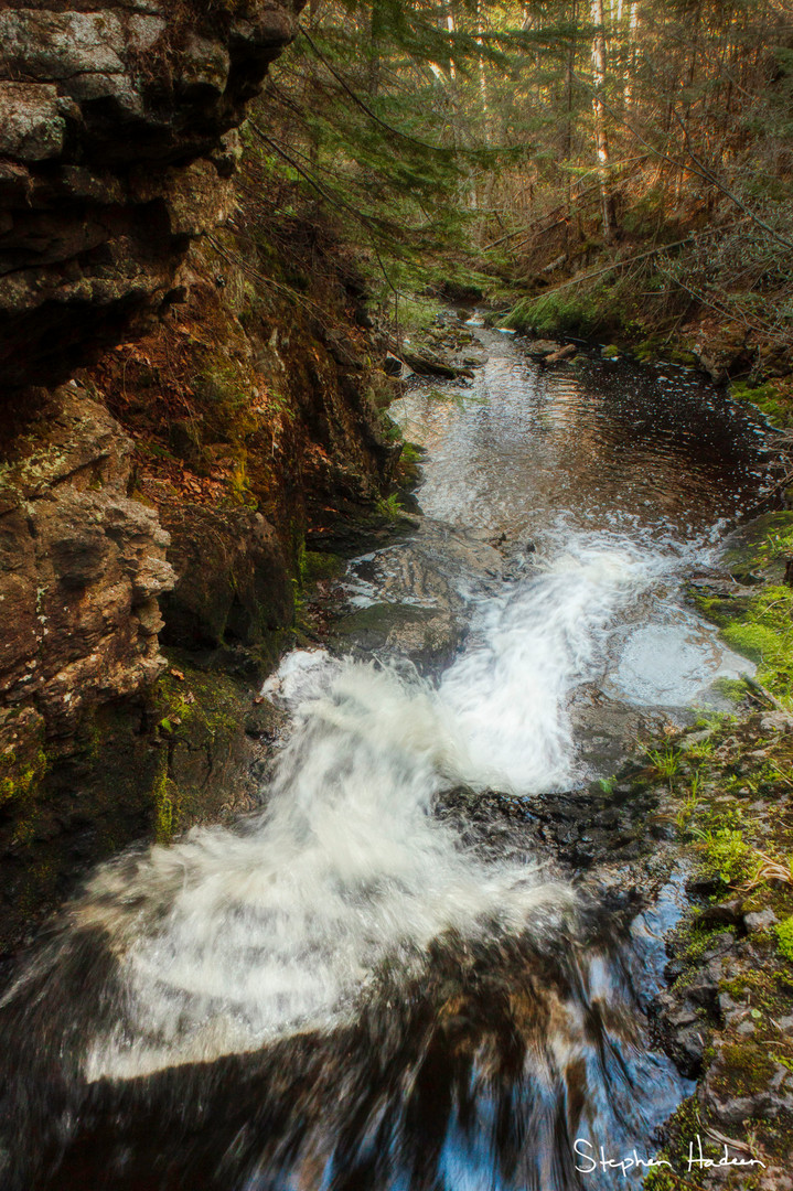 looking down the waterfall