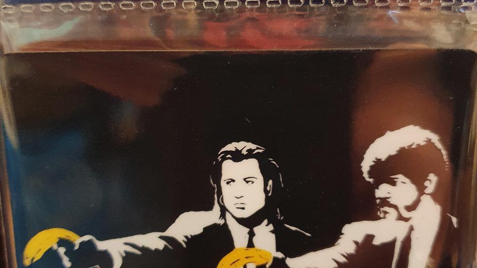 Banksy Wooden Coaster Pulp Fiction
