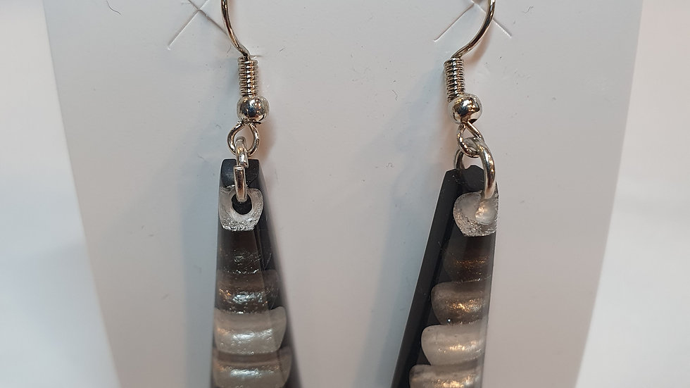 Watch This Space Steel Triangle Striped Earrings