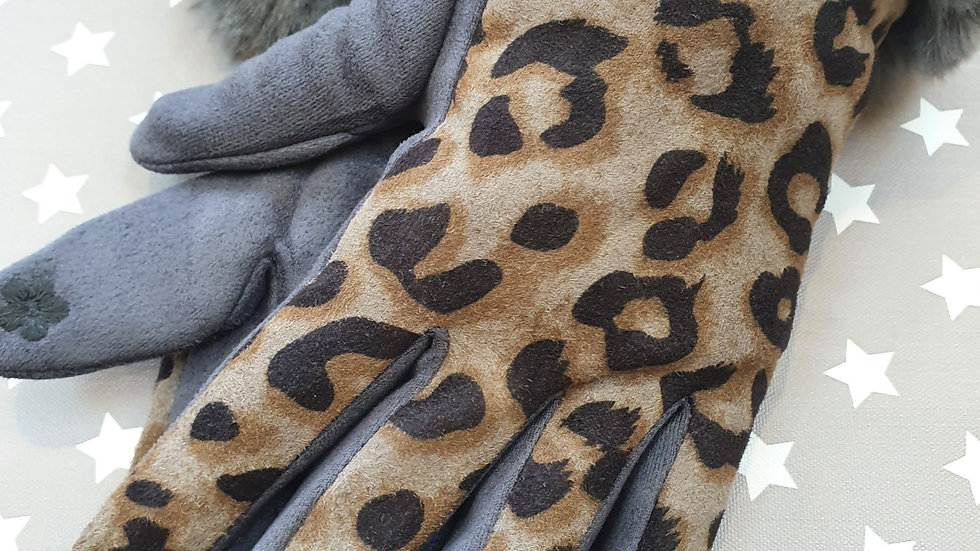 Soft Leopard print and Grey Gloves