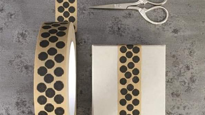 East of India Paper Tape 50m Black Dots