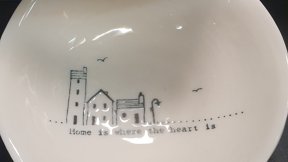Ceramic Wobbly Trinket Bowl Medium Home Is Where The Heart Is
