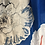 Thumbnail: Large white flower on vibrant blue with silver embellishments scarf