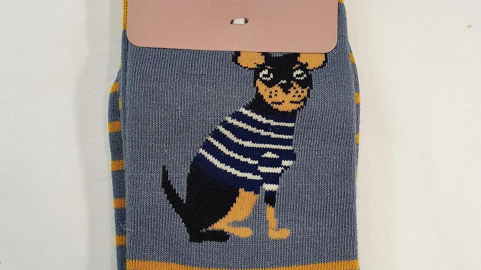 Miss Sparrow Bamboo Socks Chihuahua Stripes Blue