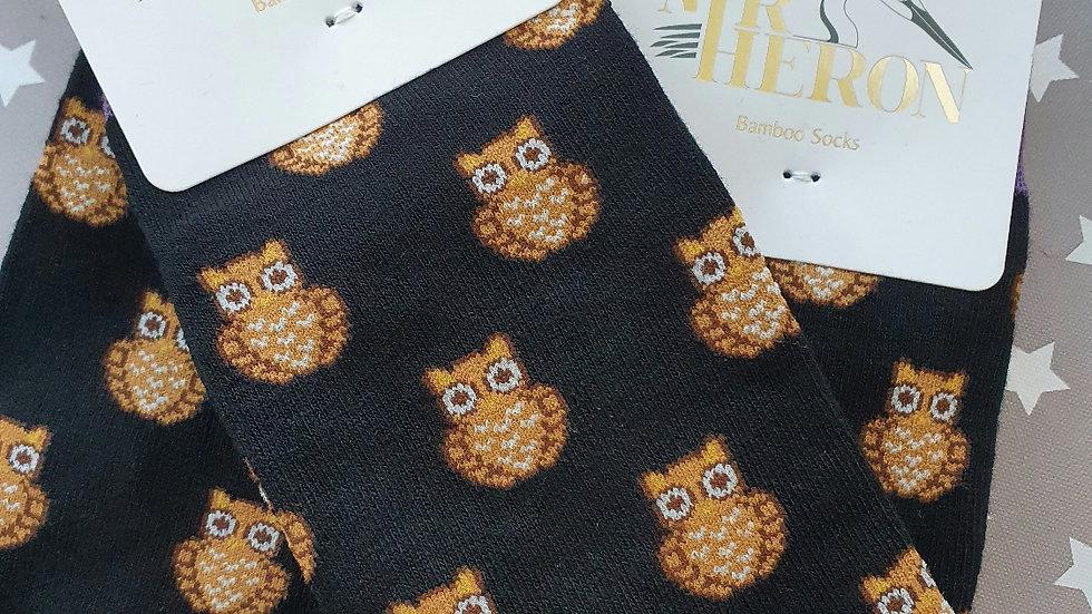 Mr Heron Bamboo Socks Owls Black