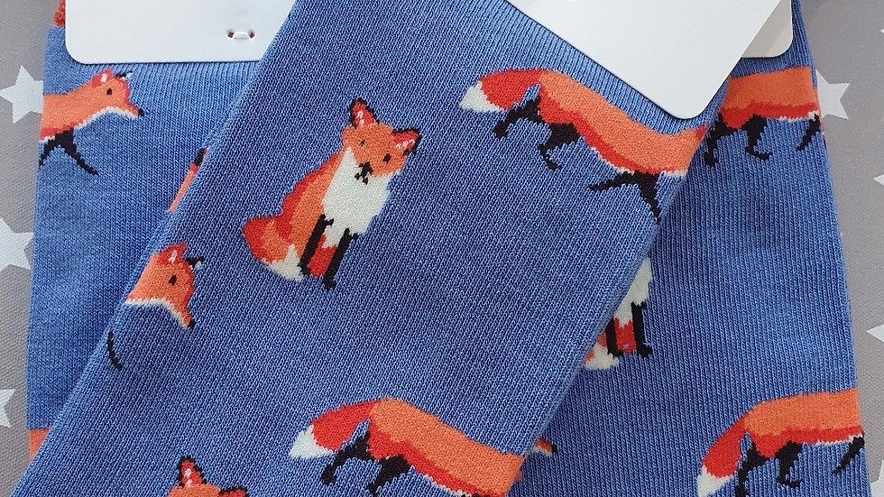 Mr Heron Bamboo Socks Foxes Blue