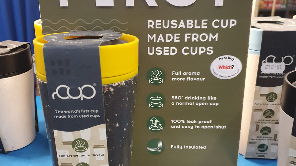 rCUP Reusable Cup Mustard and Black 12oz