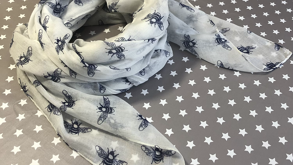 Navy bee on white scarf