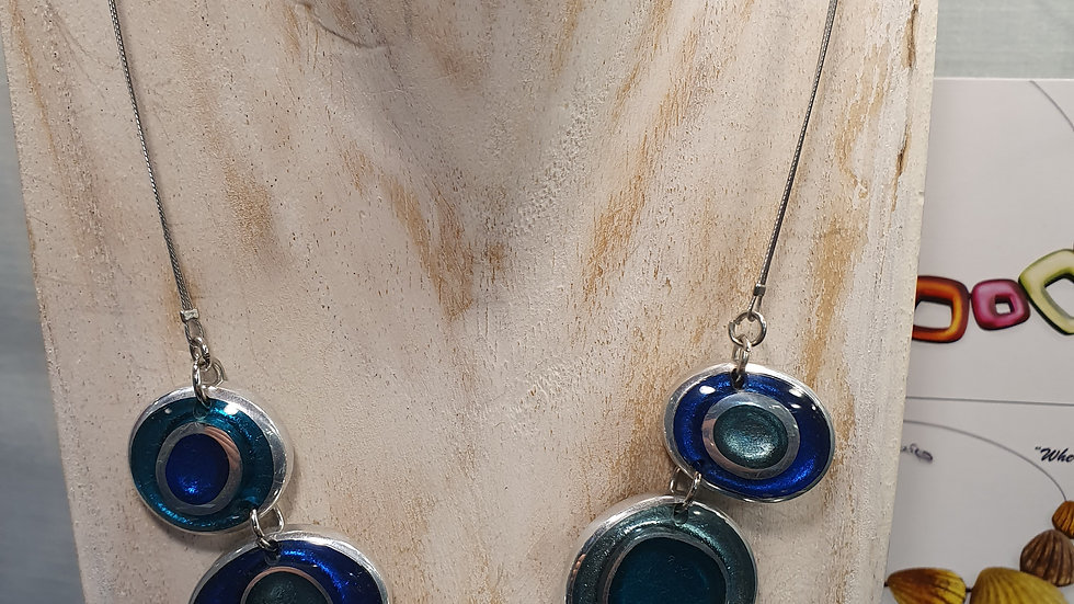Watch This Space Teal Organic Circles  Necklace