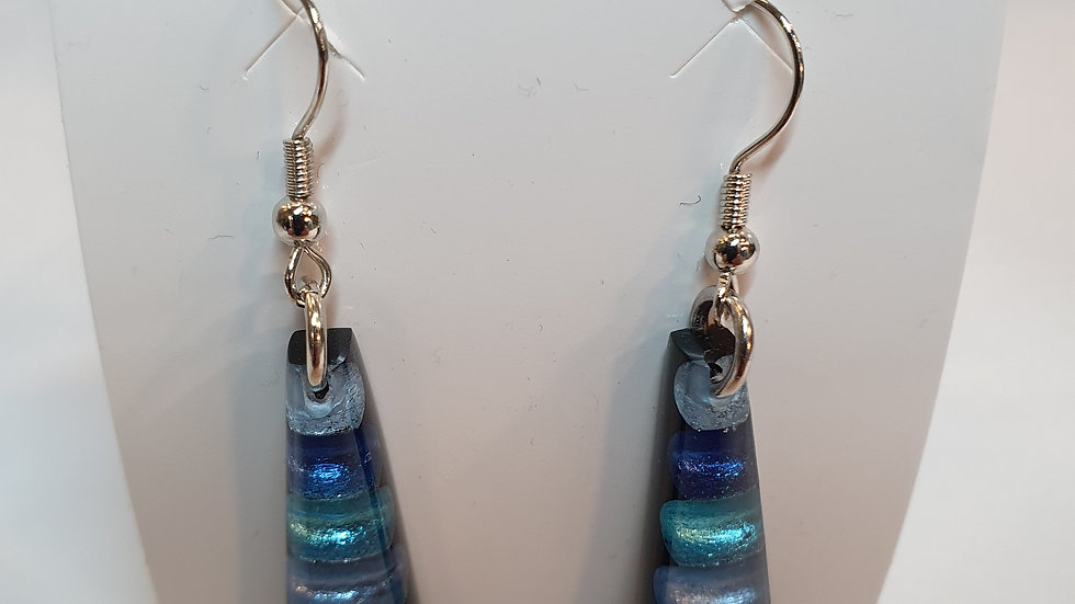 Watch This Space Peacock Triangle Striped Earrings