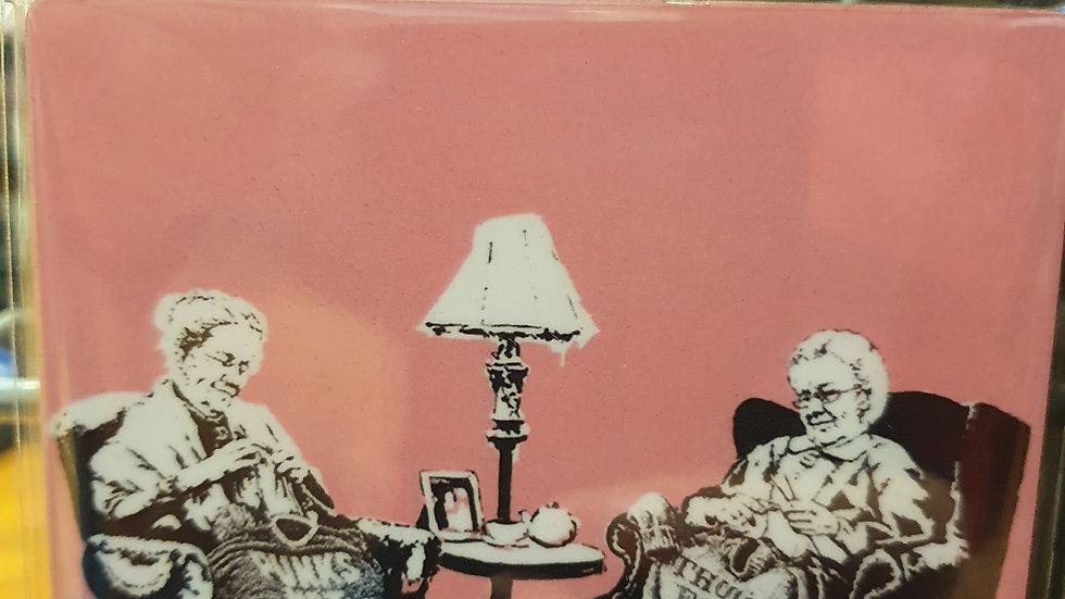 Banksy Wooden Coaster Punk Grannies