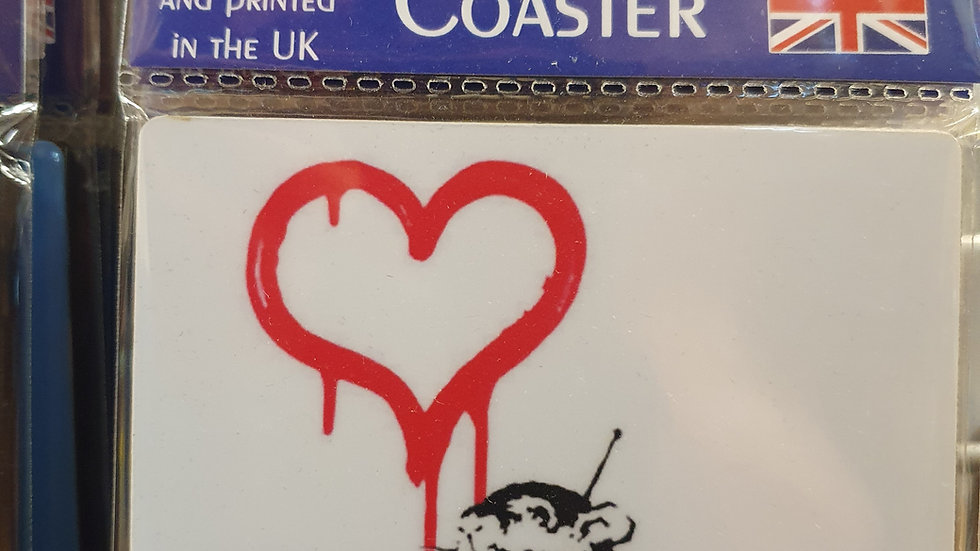 Banksy Wooden Coaster Love Rat