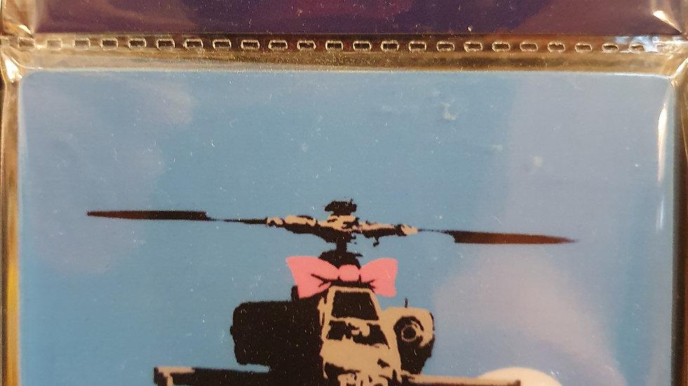 Banksy Wooden Coaster Chopper