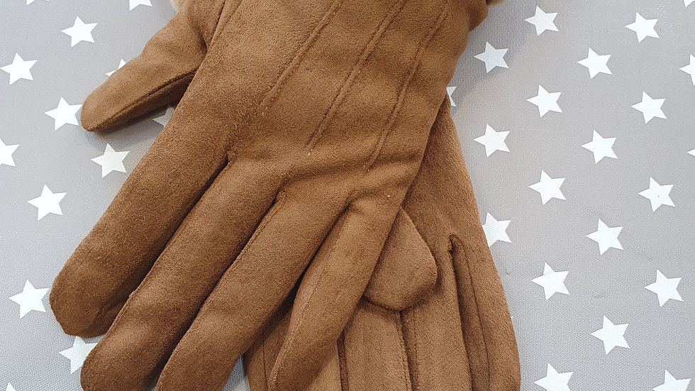 Soft and comfortable Brown gloves with fluffy cuff