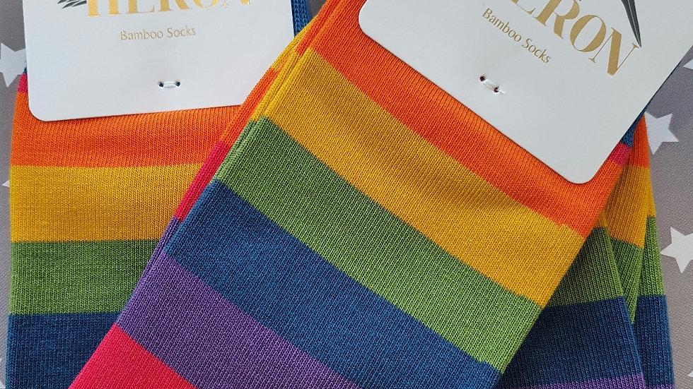 Mr Heron Bamboo Socks Thick Stripes Rainbow