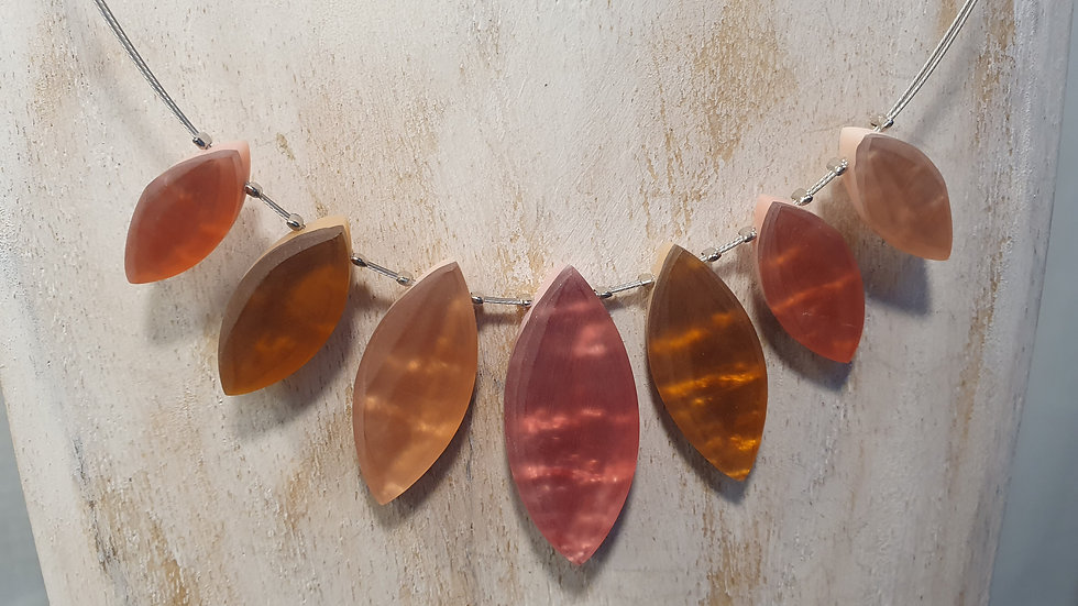 Watch This Space Tribal Leaf Necklace Amber