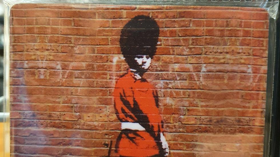 Banksy Wooden Coaster Pi@@ing Soilder
