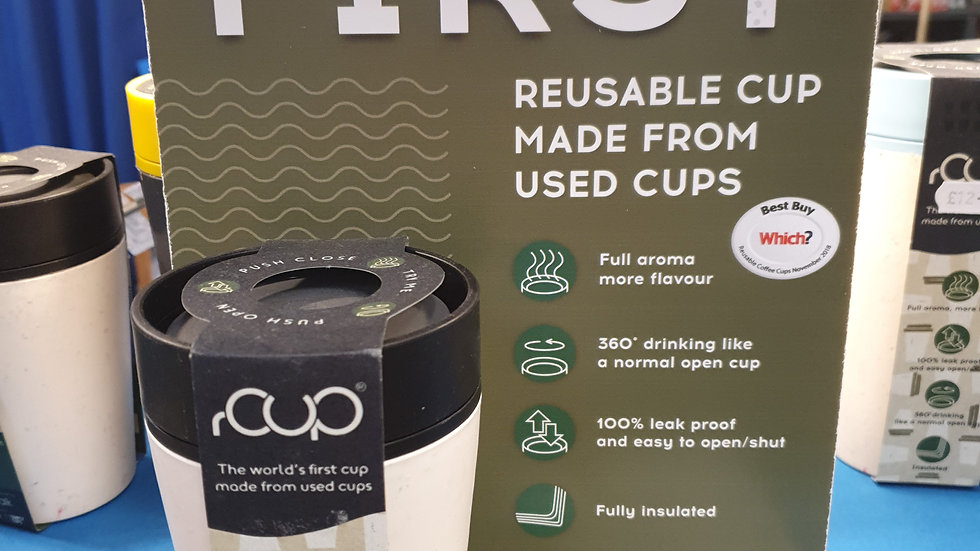 rCUP Reusable Cup Black and Cream 8oz