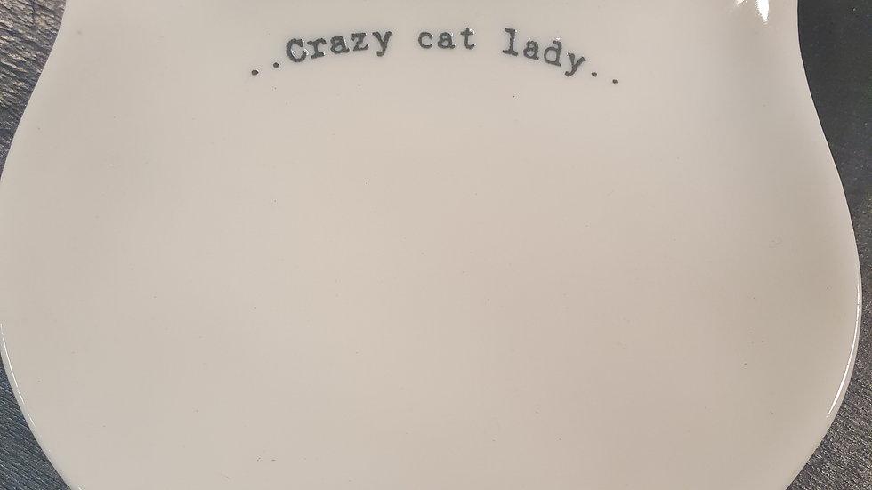 East of India Trinket dish Crazy Cat Lady