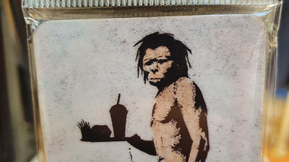 Banksy Wooden Coaster Caveman Takeaway